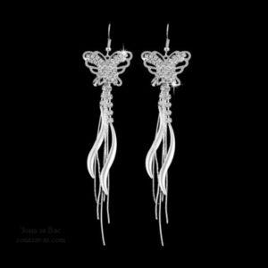 обеци блестящи пеперуди