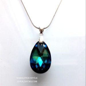 Колие Pear Shaped SWAROVSKI® Crystal Bermuda Blue